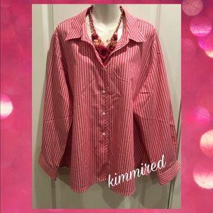 Foxcroft Pink/White Pinstripe ButtonDown Shirt~20W